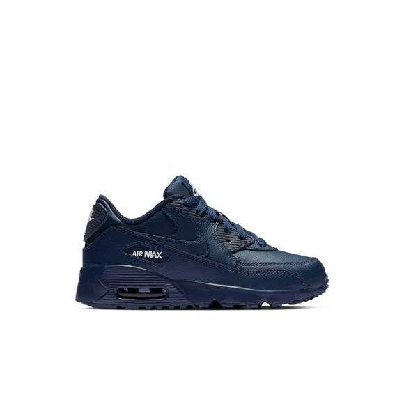 90 Nike Air Pre Navy Max Shoe Midnight Leather Kids' School BBH4xU
