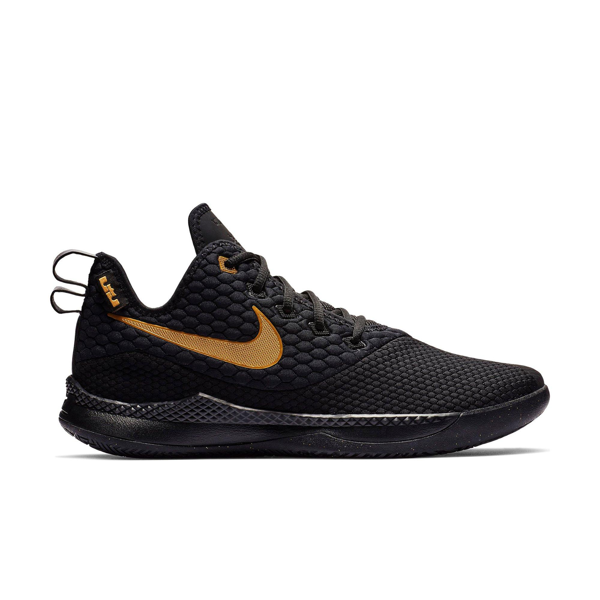Nike LeBron Witness 3 Black Metallic Gold Mens Basketball
