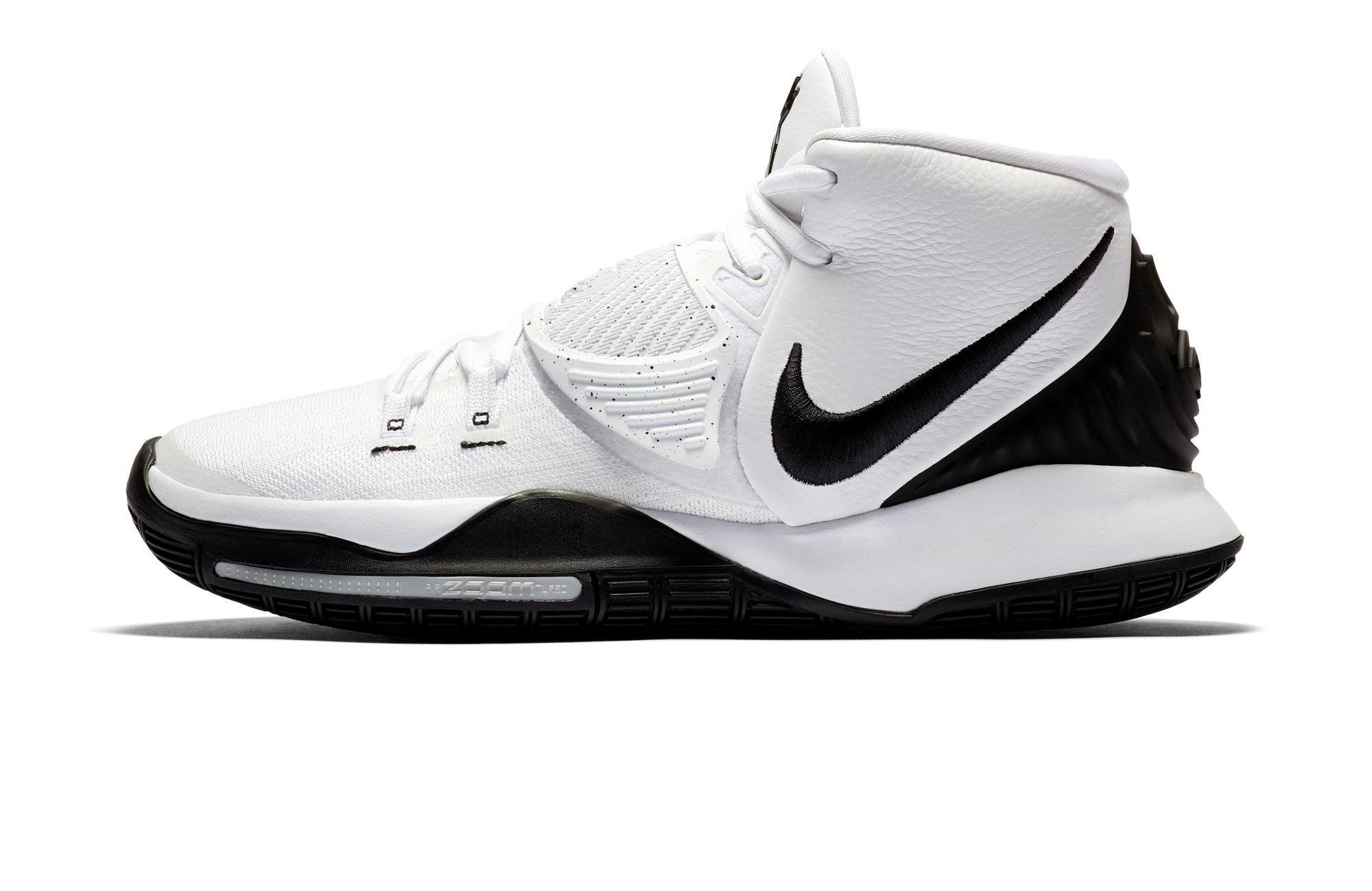 "Nike Kyrie 6 ""Oreo"" White/Black/Pure Platinum left."