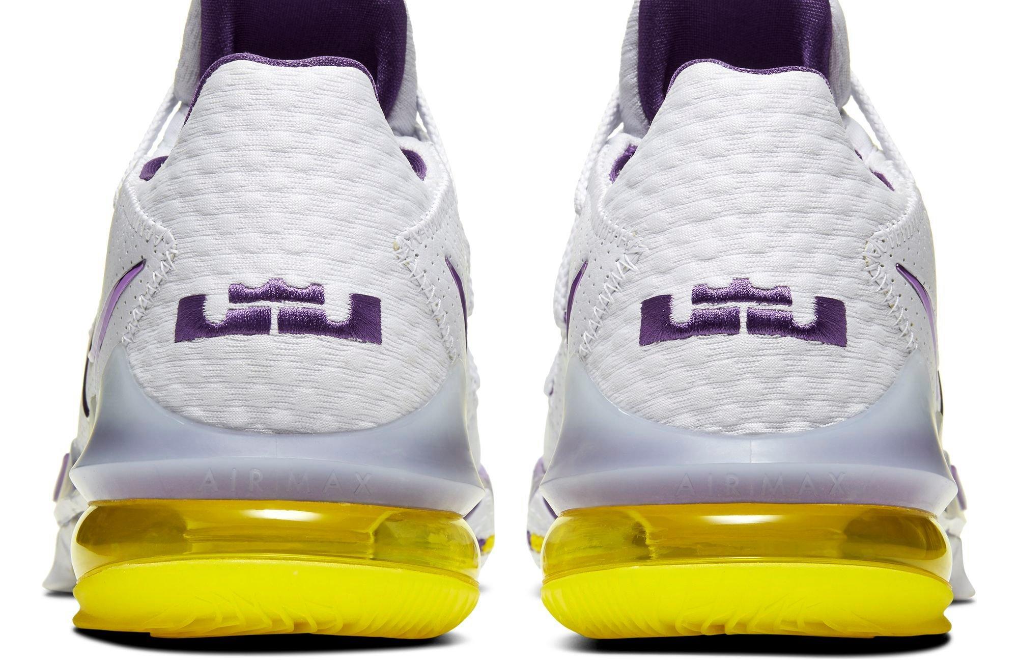 "Nike LeBron 17 Low ""Lakers Home"" White/Voltage Purple/Dynamic Yellow Men's Basketball Shoe"