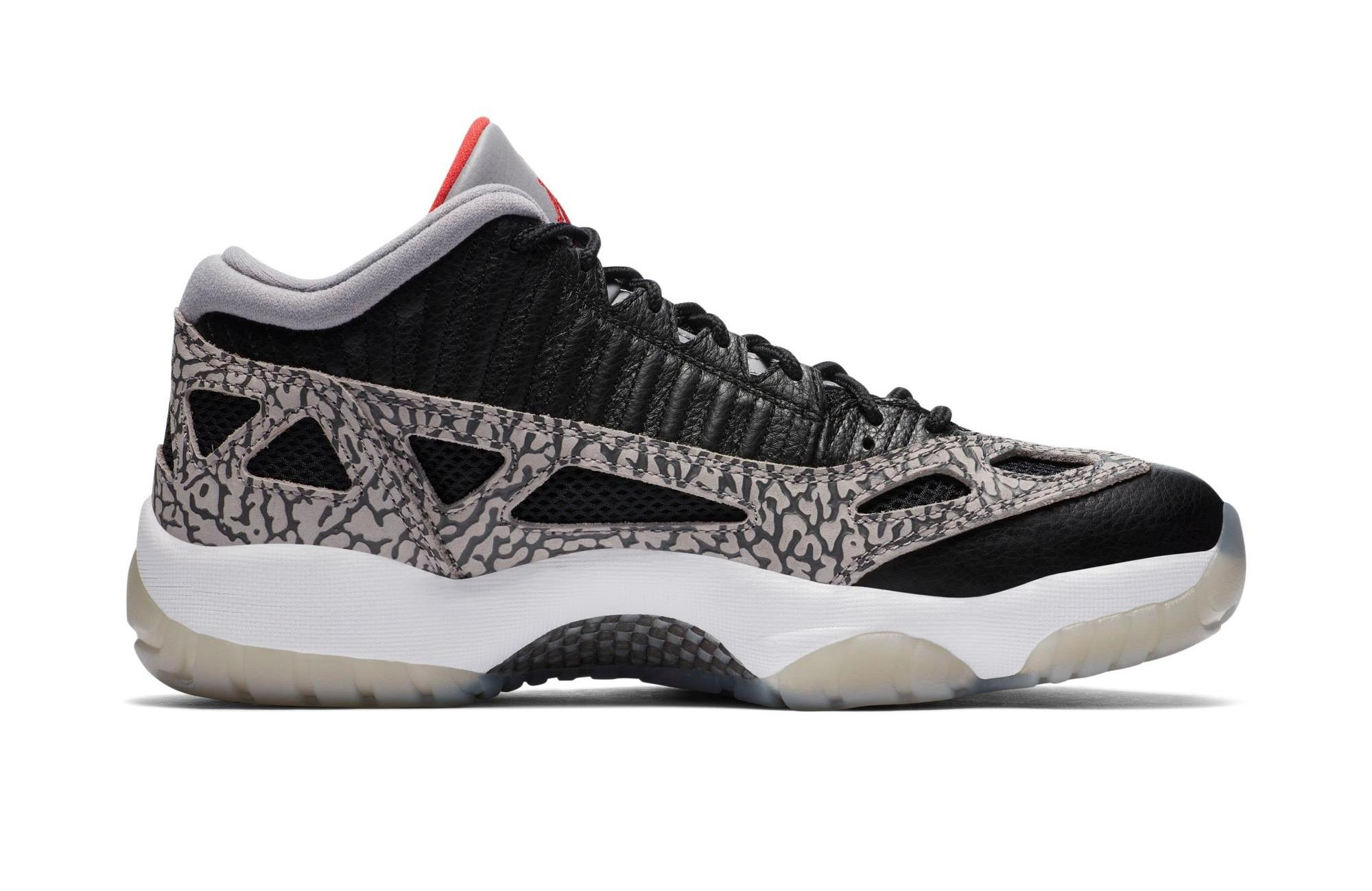 "Jordan 11 Retro Low IE ""Black Cement"" Black/Fire Red/Cement Grey Men's Basketball Shoe"