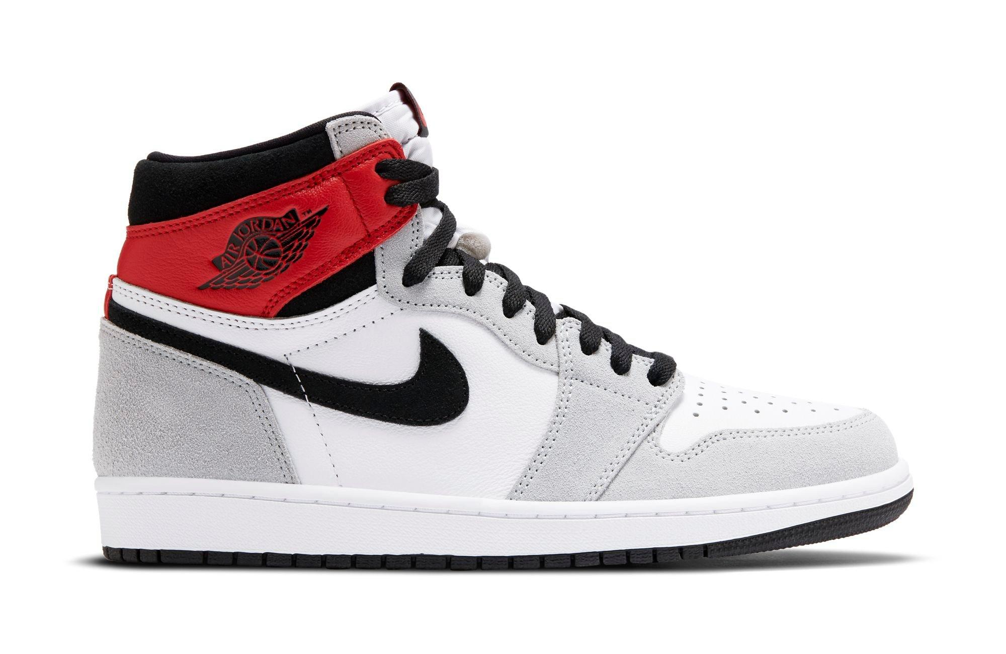 "Jordan 1 Retro High OG ""Light Smoke Grey"" White/Black/Light Smoke Grey Men's and Kids' Shoe"