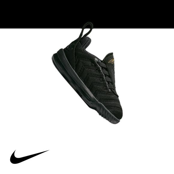 Nike Lebron 16 Black Metallic Gold Toddler Kids Basketball Shoe