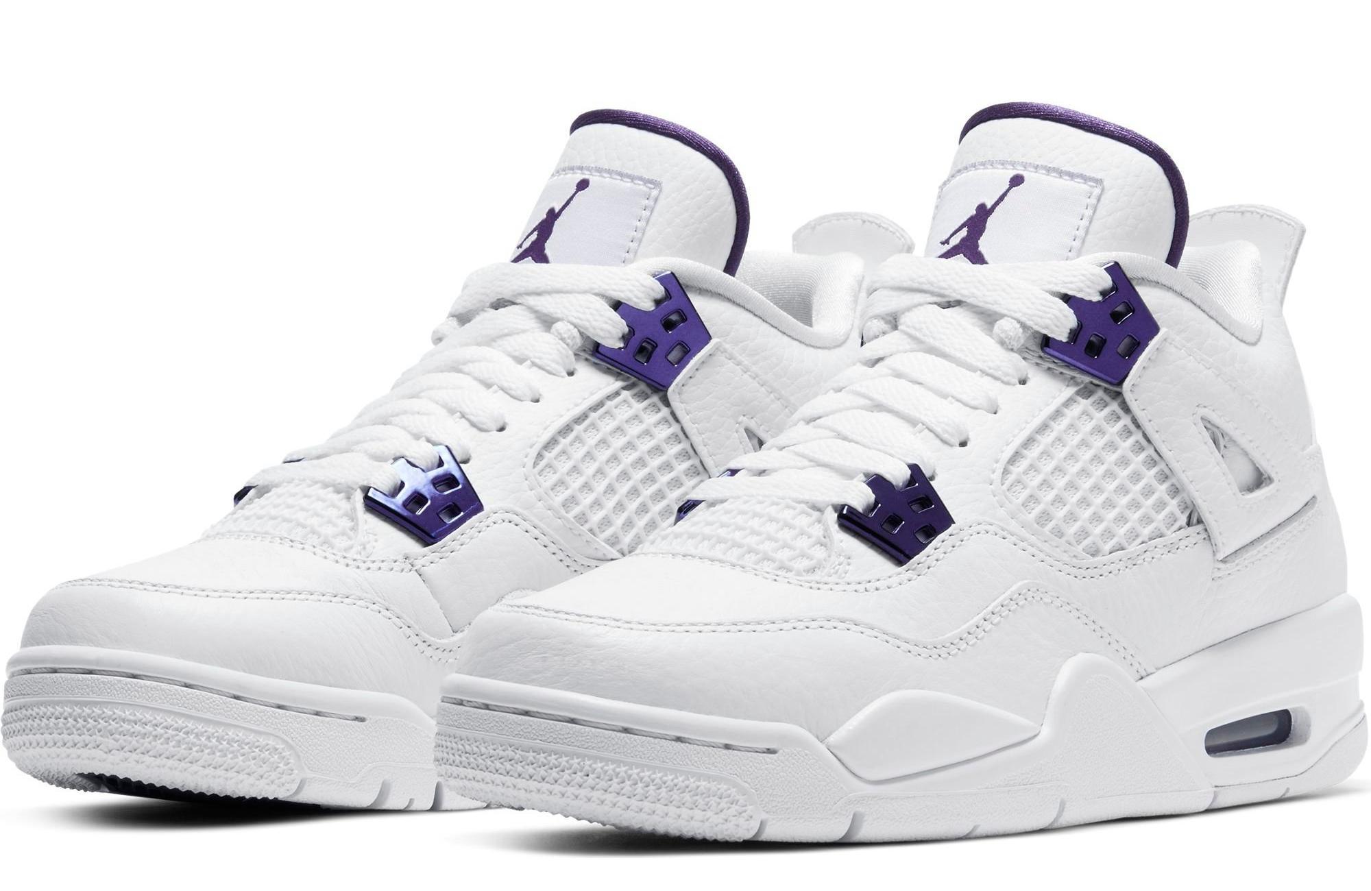 "Jordan 4 Retro ""Metallic Purple"" White/Court Purple Men's and Grade School Boys' Shoe"