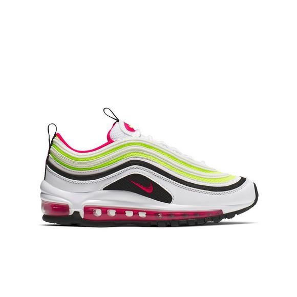 Nike Grade School Air Max 97 (White | Black | Volt | Rush Pink)