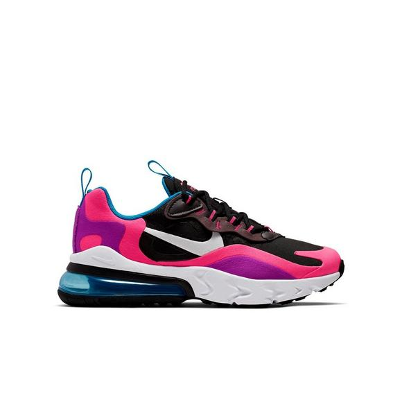 Nike Air Max 270 React Black White Hyper Pink Grade School Girls