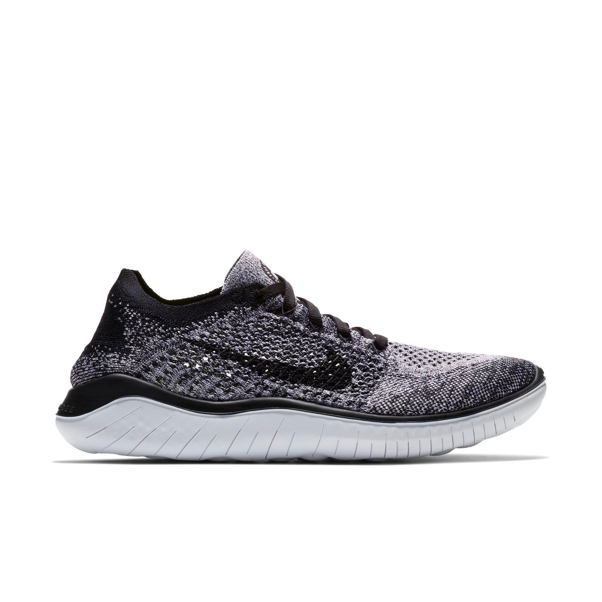 nike mens free rn flyknit running shoes - black/silver under armour