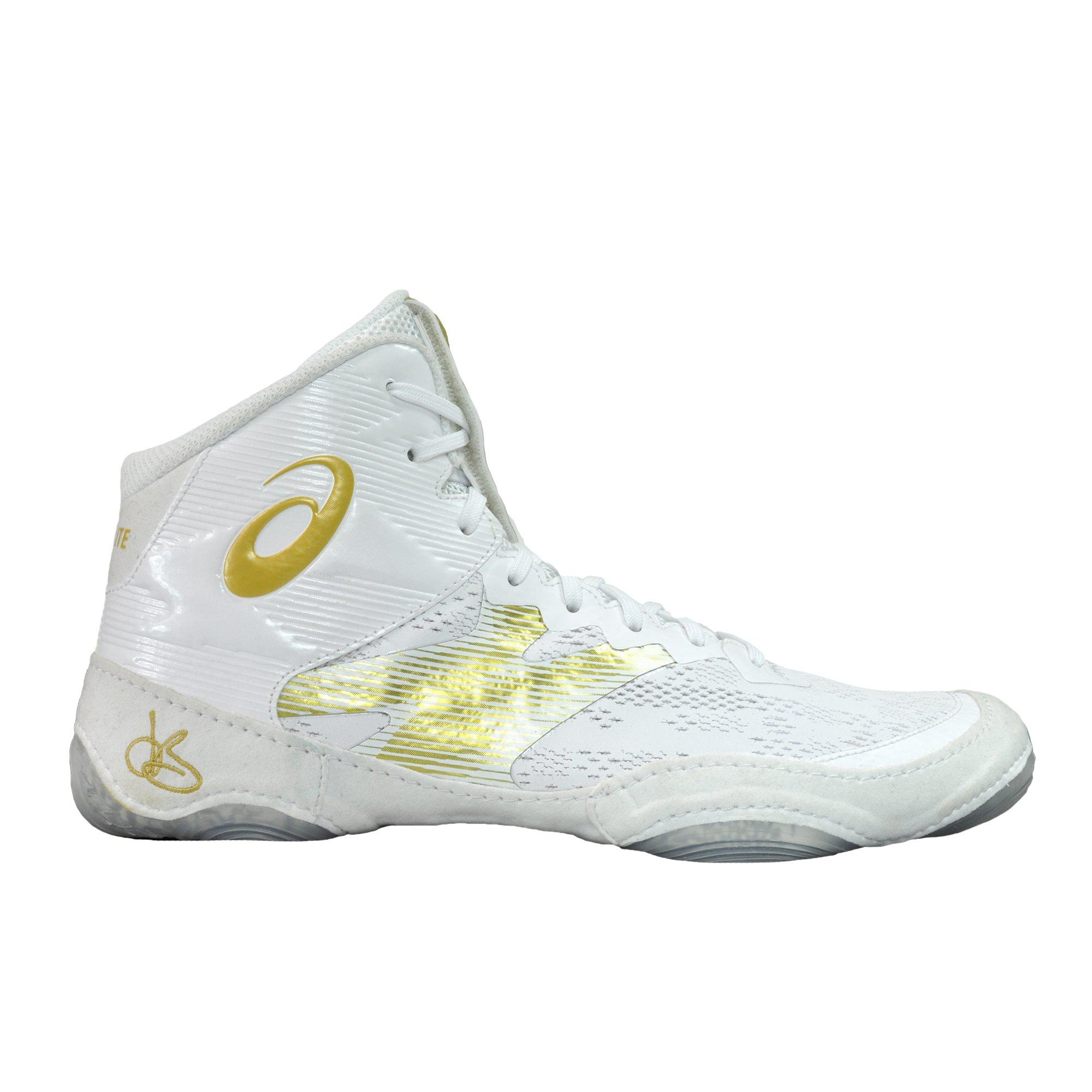 white and gold asics wrestling shoes