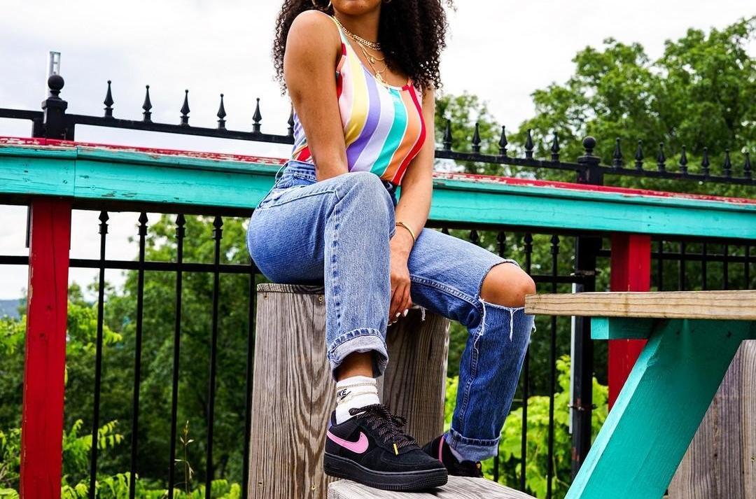 "Summer in Color- Nike Sportswear Women's Printed Bodysuit and Nike Air Force 1 LV8 2 ""Black/Magic Flamingo/Persian Violet"" Grade School Kids' Shoe"