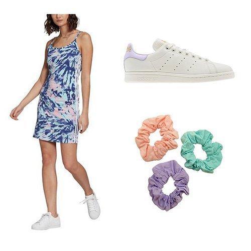 adidas Tie Dye dress, Stan Smith shoe, scrunchie pack