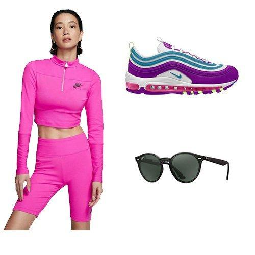 Nike loungewear outfit, Air Max 97, and Ray Ban Sunglasses