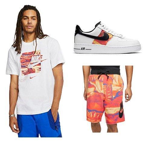 Nike Men's Logo Tee-White, Nike Men's Organic Alumni Shorts, Nike Air Force 1 Low Distortion Men's Shoe
