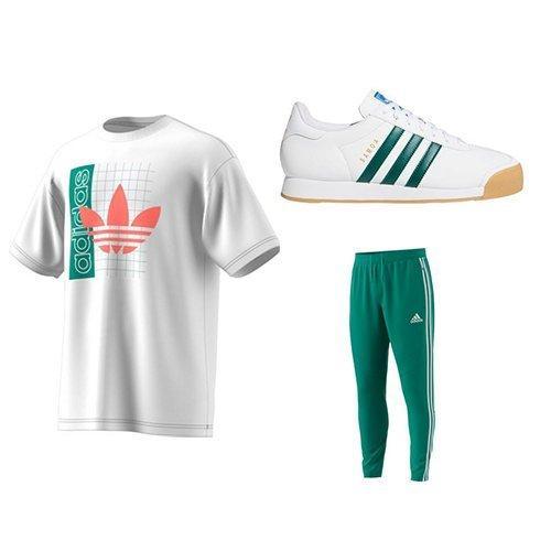 adidas Men's Grid Trefoil Tee, adidas Men's Tiro 19 Pants-Green, adidas Samoa
