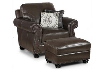 Charleston Leather Chair in Ghost Gray
