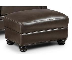 Charleston Leather Ottoman in Ghost Gray