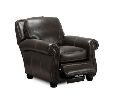 Charleston Leather Recliner in Ghost Gray
