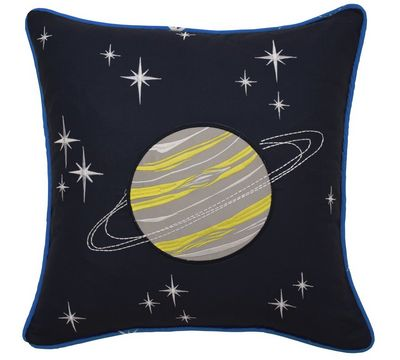 Space Adventure Embroidered Decorative Pillow