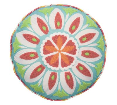 Wild Card Embroidered Round Pillow