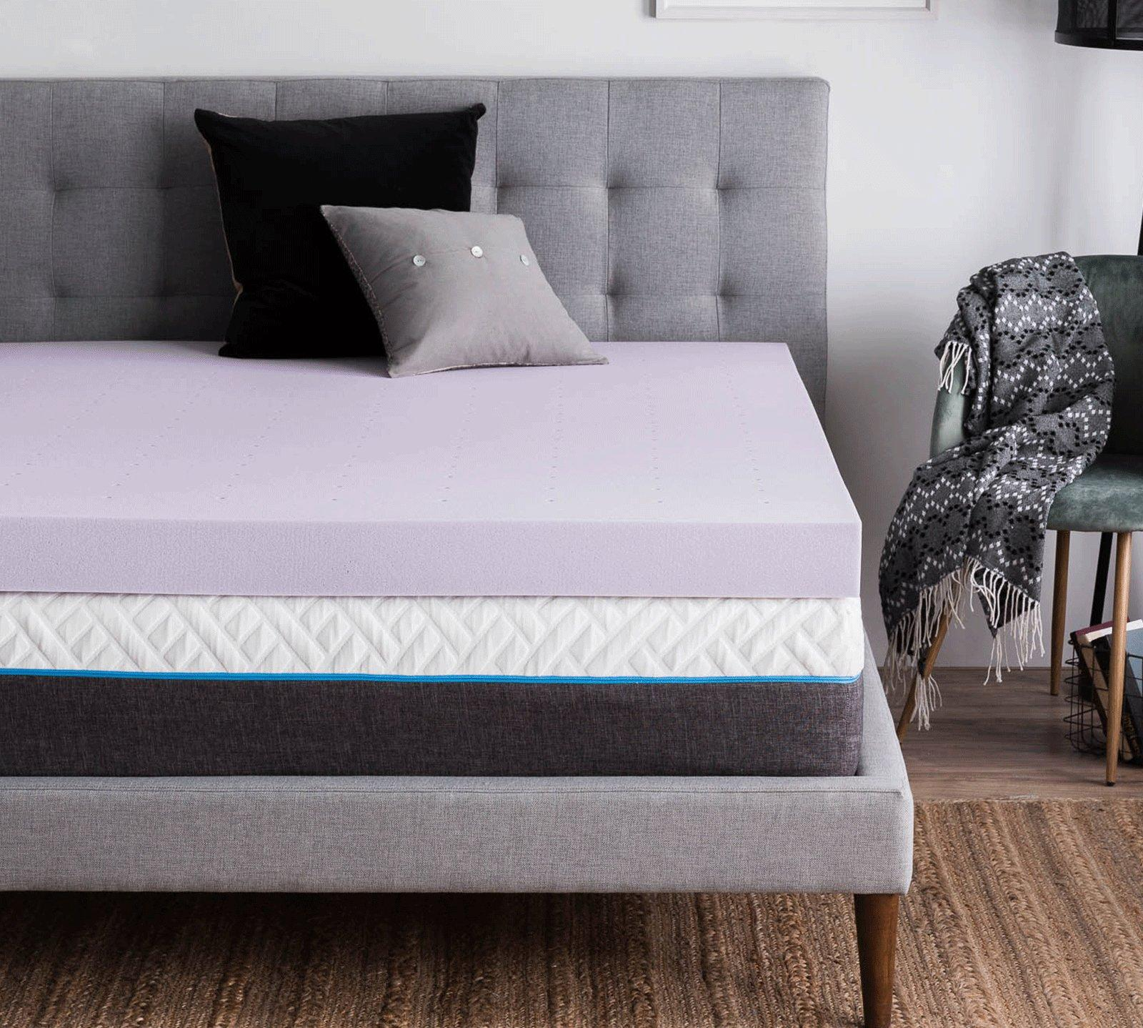 Lucid Queen 4 Inch Lavender Memory Foam Mattress Topper