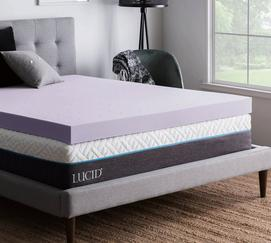 "4"" Lavender Memory Foam Mattress Topper"