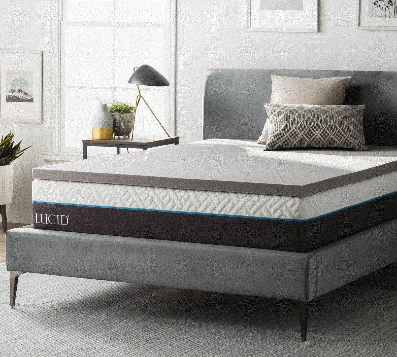 Lucid King 2 Inch Bamboo Charcoal Memory Foam Mattress Topper
