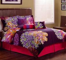 Flower Show Comforter Set with 3 Decorative Pillows