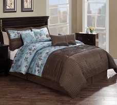 Chocolate Aqua Pleat 8 Piece Comforter Set