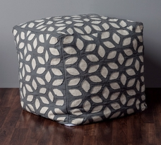 Rizzy Home Cotton Applique Pouf