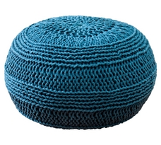 Rizzy Home Hand-Knitted Roped Cotton Round Pouf