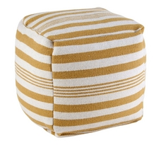 Rizzy Home Striped Wool Square Pouf