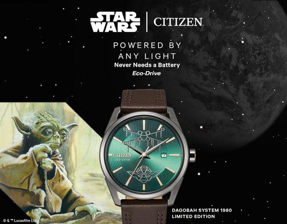 citizen star wars dagobah brown leather watch