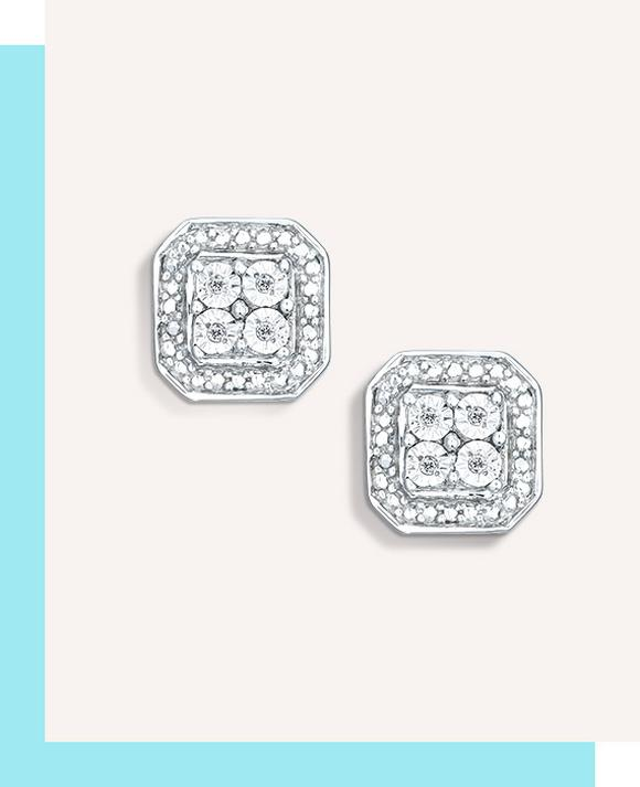 Sterling Silver & Diamond Square Cluster Earrings