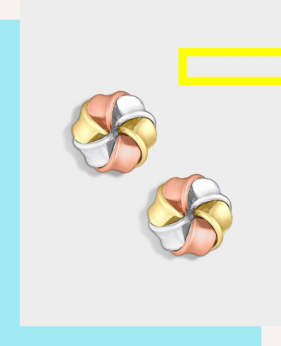 9ct Gold, White Gold & Rose Gold Large Knot Stud Earrings