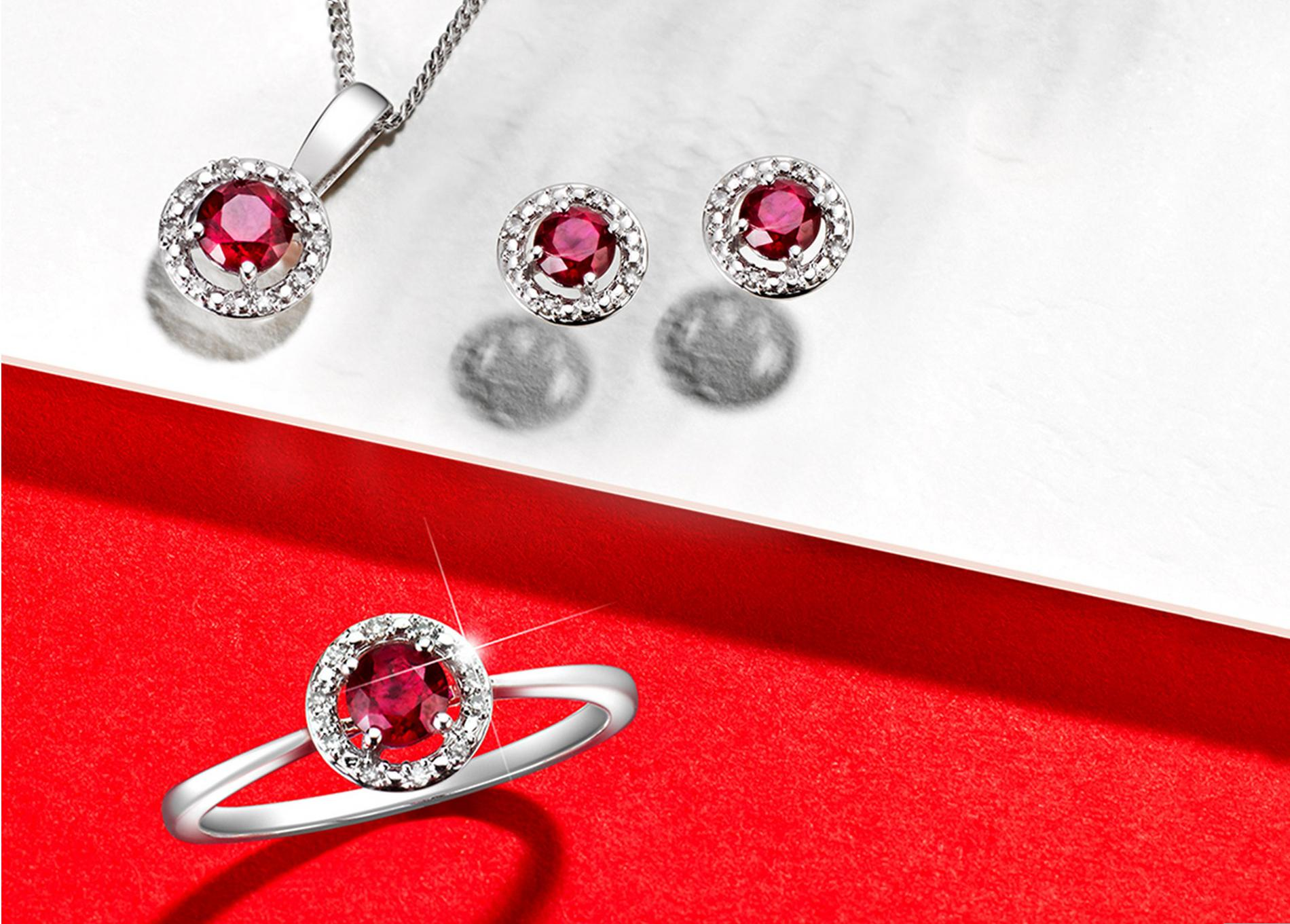Ruby necklace, ring and earrings.