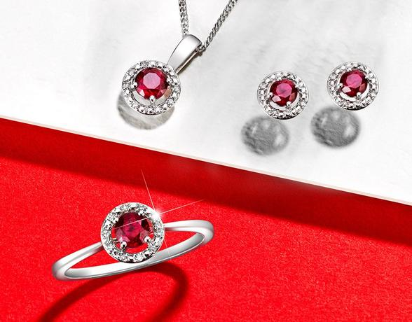 Ruby pendant, ruby ring and ruby stud earrings