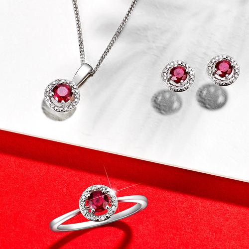 Ruby necklace, ring and earrings