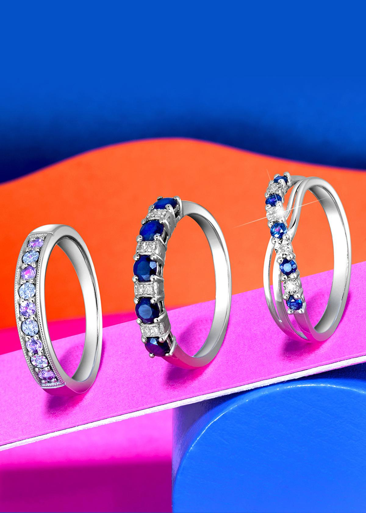 Sapphire and Diamond Eternity Rings