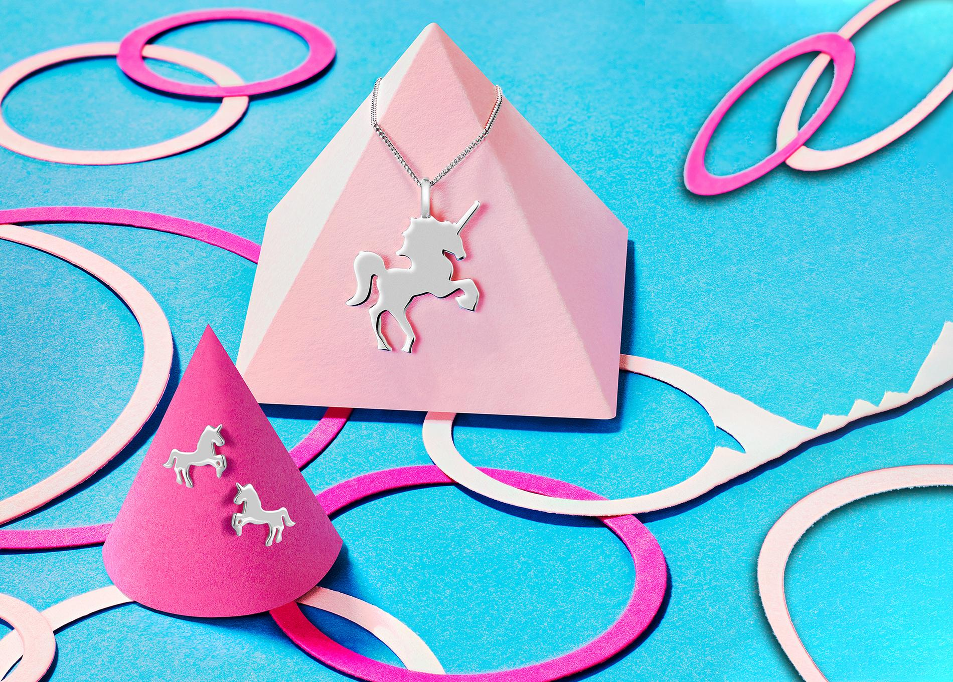Sterling Silver Unicorn pendant and unicorn stud earrings