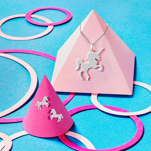 Sterling silver unicorn pendants and unicorn stud earrings