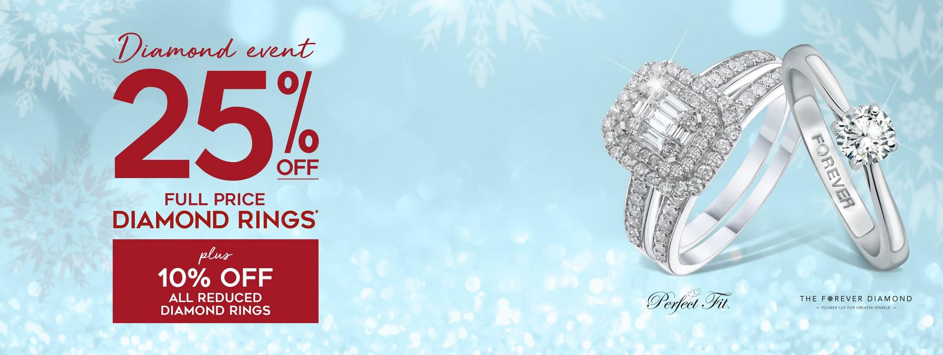 25% Off Full Price Diamond Rings - 10% Off Sale Diamond Rings - Shop Now