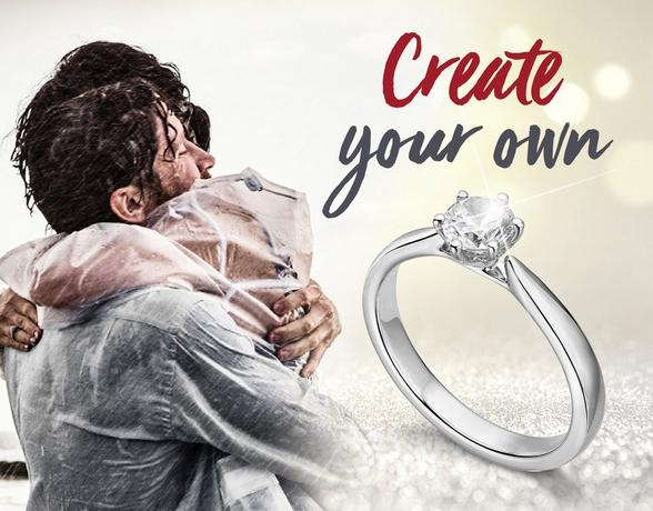 couple hugging, create your own ring
