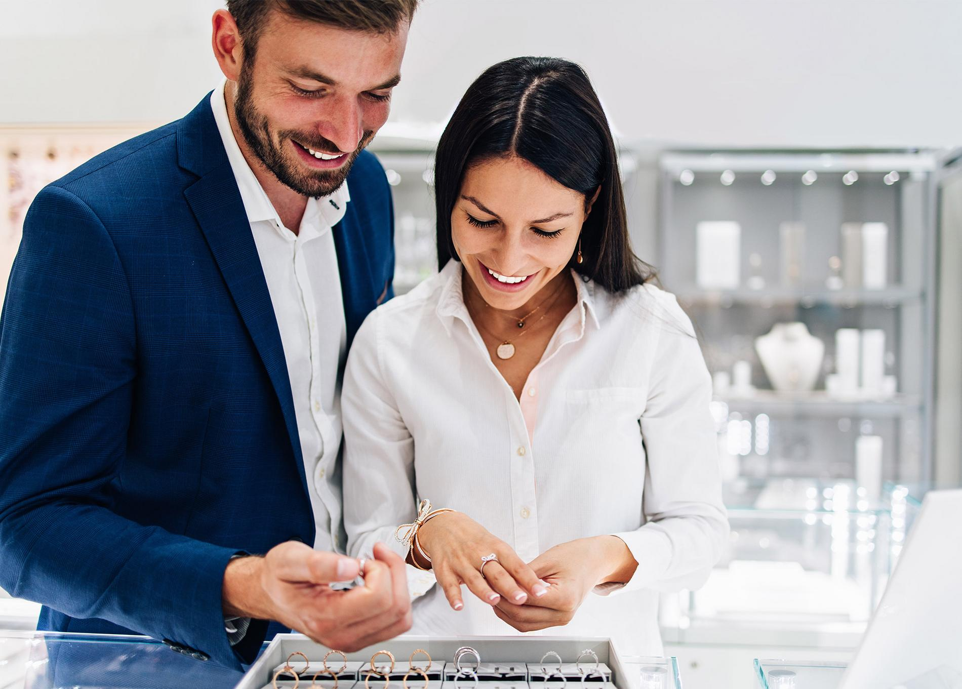Couple shopping for engagement rings. Shop safely with a jeweller you can trust.