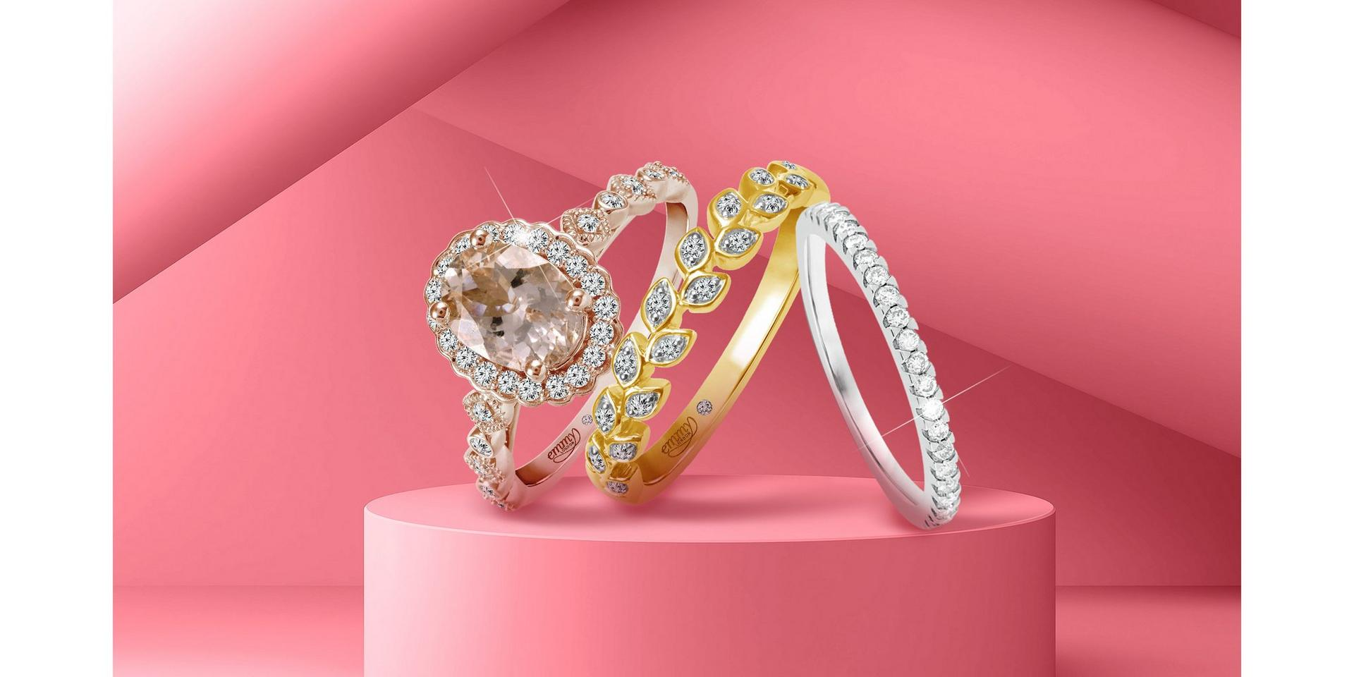 Diamond stacking yellow, white and rose gold rings