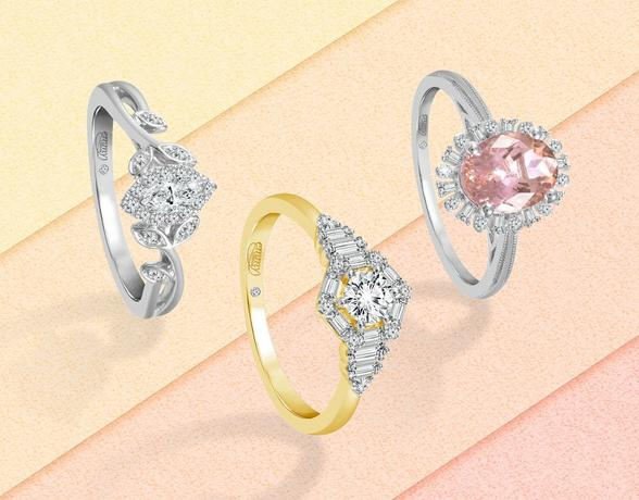 selection of 3 engagement rings