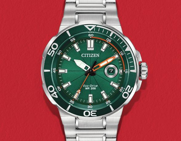 Citizen watch with steel strap and green face