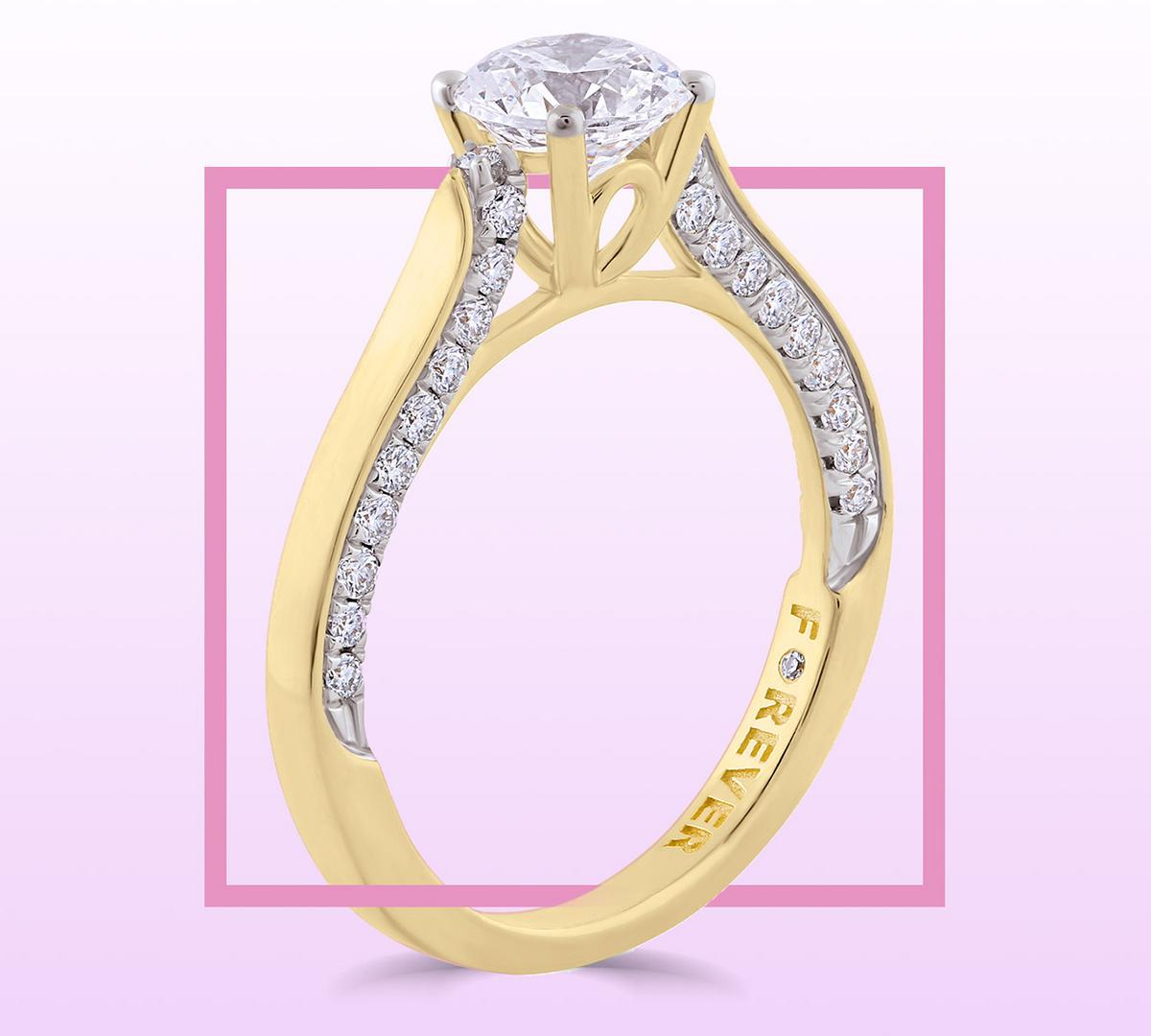 18ct Yellow Gold 1ct Forever Diamond Solitaire Engagement Ring