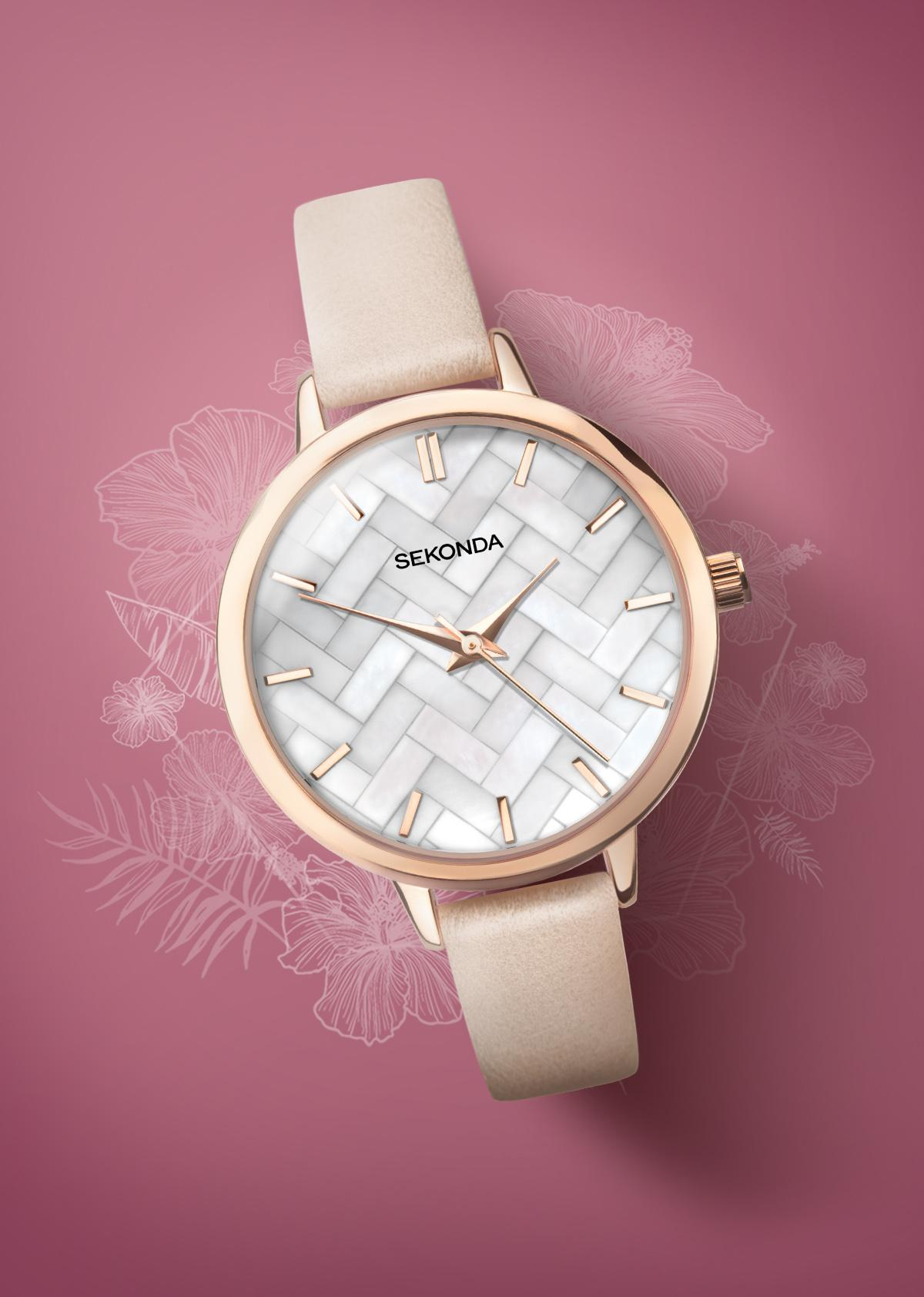Sekonda Editions Ladies' Pink PU Strap Watch