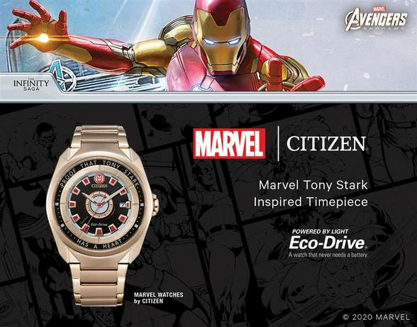 tony stark citizen marvel gold watch