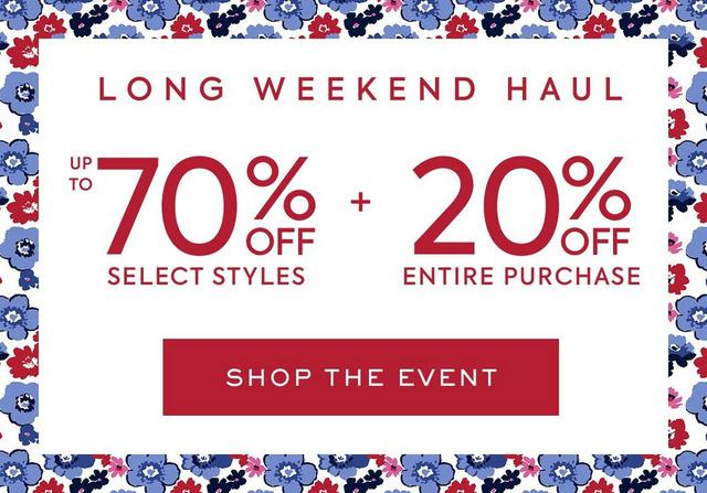 Up To 70% off Select Styles plus 20% Off Entire Purchase