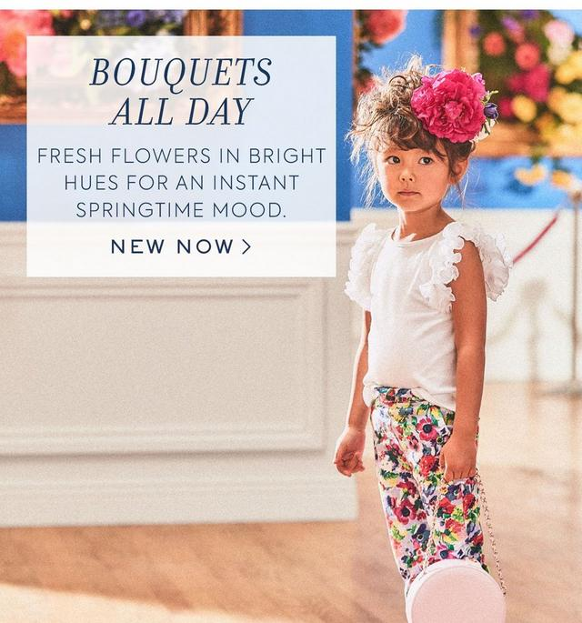 Bouquets All Day. Fresh flowers in bright hues for an instant springtime mood. New Now.